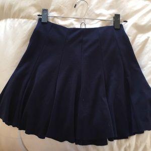 Cotton navy blue pleated skirt